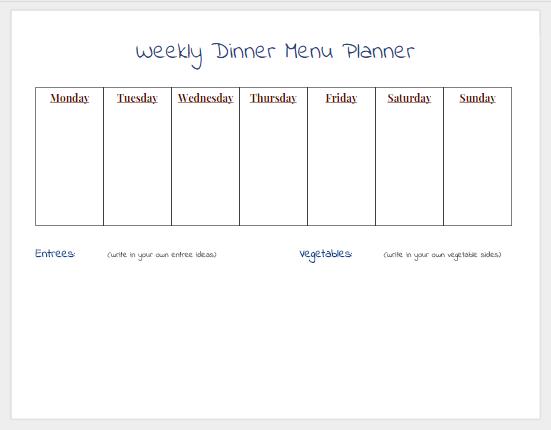 Blank Weekly Dinner Menu Planner