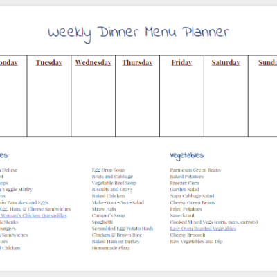 Weekly Dinner Menu Planner  {printable}