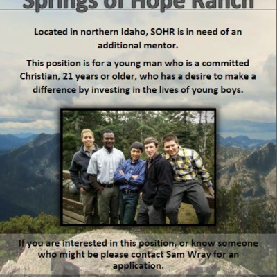 Mentor Needed at Springs of Hope Ranch