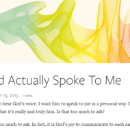 God Actually Spoke To Me by Tim Challies
